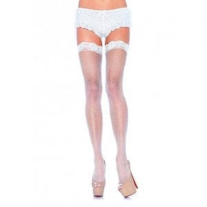 Leg Avenue Fishnet Stockings with Lace Top